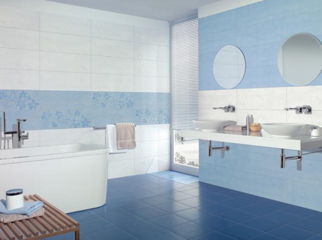 бело-голубая ванная комната фото